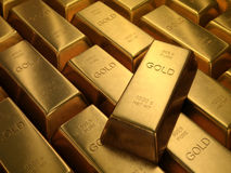 Gold Bars. 1000 grams. Depth of field on the gold word Royalty Free Stock Photos