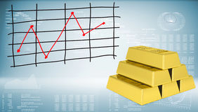 Gold bars and graph of price changes. Graphs and texts as backdrop Stock Photo
