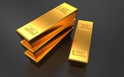 Gold bars, ingot on black backgrounds Royalty Free Stock Images
