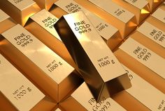 Gold bars - financial success and investment concept. Gold bars or ingot - financial success and investment concept Stock Photo