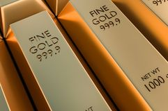 Gold bars or ingot - financial success and investment concept. 3D rendered illustration Royalty Free Stock Image