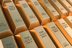 Gold bars or ingot - financial success and investment concept. 3D rendered illustration Stock Photos