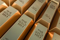 Gold bars or ingot - financial success and investment concept. 3D rendered illustration Royalty Free Stock Photo
