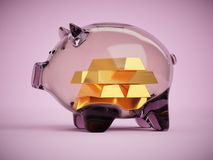 Gold bars inside of glass coinbank savings concept 3d illustration Stock Photography
