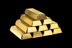 Gold bars isolated on black Royalty Free Stock Photos