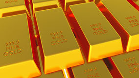Gold Bars Isolated on white 3D render. Bank,value Stock Photos