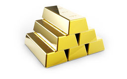 Gold bars. Isolated on white background 3D rendering stock images