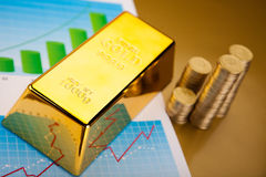 Gold bars with a linear graph, ambient financial concept Stock Images