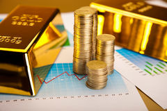 Gold bars with a linear graph, ambient financial concept Stock Image