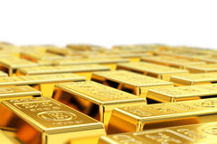 Gold bars. Many gold bars with shallow depth of field. Fictional logo on the gold bars Royalty Free Stock Photography
