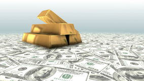 Gold Bars and Money. stock footage