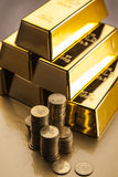 Gold bars! Money and financial top view Stock Image