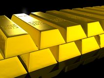 Gold bars over black Royalty Free Stock Images
