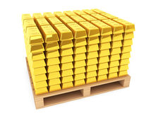 Gold Bars with pallet Royalty Free Stock Photography