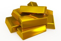 Gold bars pile Stock Photo
