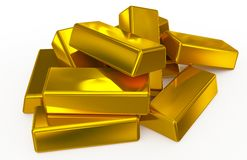 Gold bars pile Stock Photos