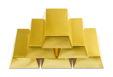 Gold Bars. Pile of Gold Bars on a White Background Stock Photos