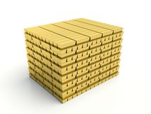 Gold bars pile on white background Royalty Free Stock Images