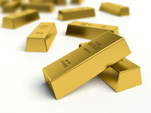 Gold bars pile on white background Stock Images
