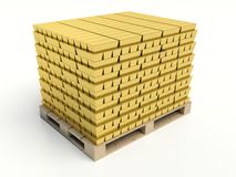 Gold bars pile on white background Stock Images