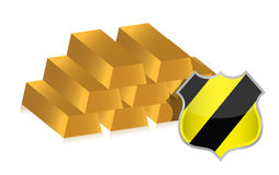Gold bars protected by shield illustration. Design Stock Images