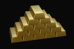 Gold bars pyramid. Pyramid made of 1 kg gold bars, isolated on black background Stock Image