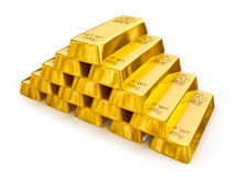 Gold bars pyramid Stock Photos