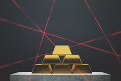 Gold bars pyramid, black wall, lasers. Gold bars pyramid standing against a black wall on a marble table. Laser rays. Concept of savings and economics. 3d Stock Image