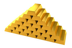 Gold bars pyramid white background Royalty Free Stock Photography