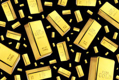 Gold bars rain on black background Stock Images