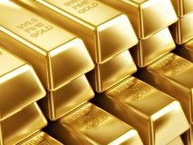 Gold Bars in raws. Beautiful Gold Bars in raws Royalty Free Stock Photography