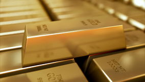 Gold Bars realistic 3D animation.  stock video footage