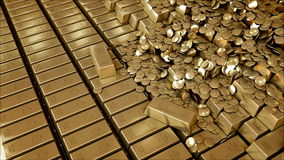 Gold Bars realistic 3D animation stock video