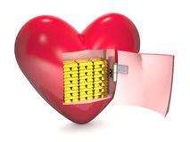Gold bars and red heart. Royalty Free Stock Photo