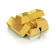 Gold bars with reflection Royalty Free Stock Photography