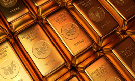 Gold Bars in Rows Royalty Free Stock Images