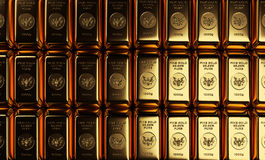 Gold Bars in Rows Stock Photography