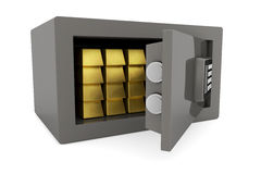 Gold bars in a safe. Many gold bullion bars in a small safe Stock Photo