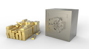 Gold bars and safe. Huge stack of gold bars next to a closed vault over white background Stock Photography