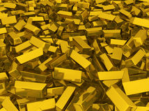 Gold Bars Scattered Stock Image