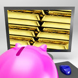 Gold Bars Screen Shows Shiny Valuable Treasure Royalty Free Stock Photography