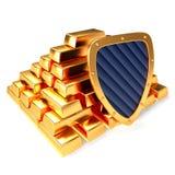 Gold bars and shield Royalty Free Stock Image