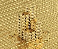 Gold bars. Shiny gold bars stacked on golden bars background Stock Photo