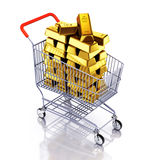 Gold bars in shopping cart Royalty Free Stock Photos