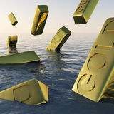 Gold Bars Sinking  Showing Depression Stock Photo