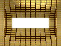 Gold bars stack frame. 3D rendering illustration.  Royalty Free Stock Image