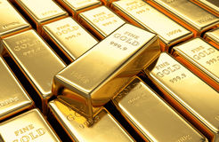 Gold bars stack Stock Image