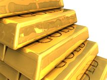 Gold bars stacked Stock Image