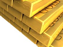 Gold bars stacked Stock Photo