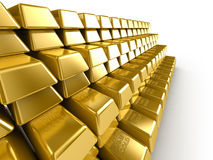 Gold Bars. Stacked on each other Royalty Free Stock Images